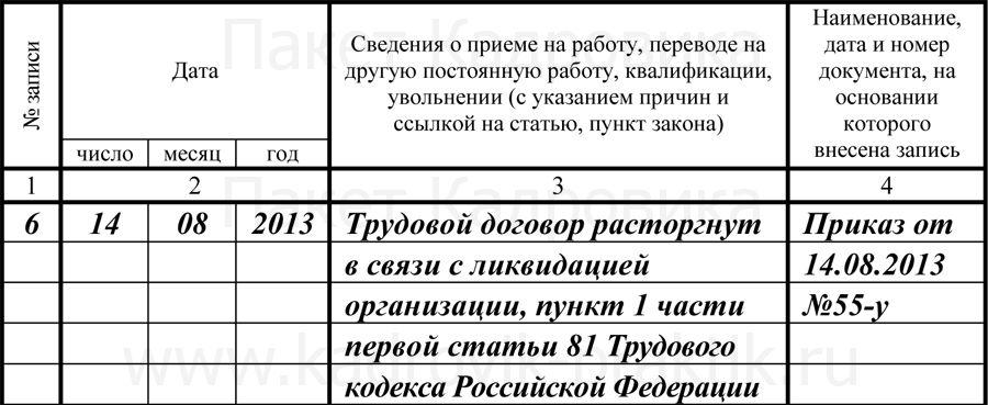 Образец приказа на увольнение в связи с ликвидацией организации надлежащее время